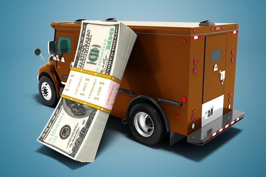 furgón de transporte de valores con dinero en efectivo