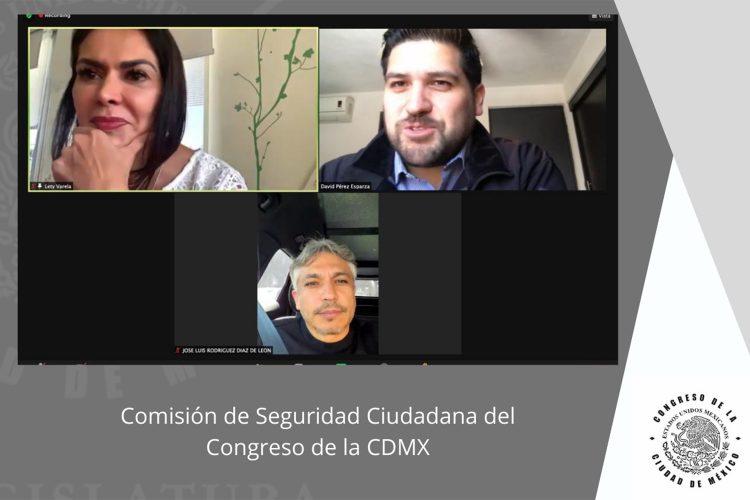 Participantes en la tertulia virtual de la Comisión de Seguridad Ciudadana del Congreso de la CDMX sobre extorsión telefónica