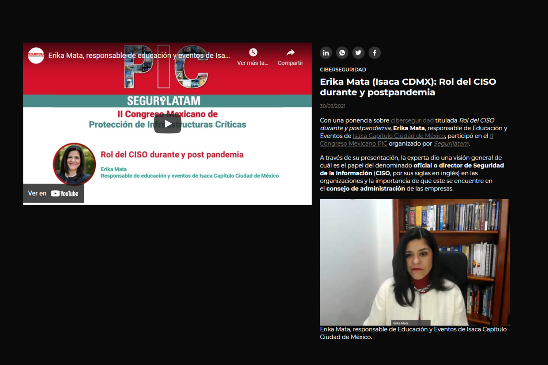 vídeo de ciberseguridad de Erika Mata en el II Congreso Mexicano PIC
