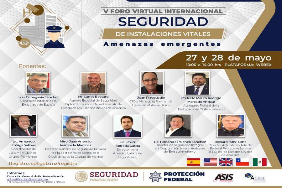 Ponentes del V Foro Virtual Internacional de Seguridad en Instalaciones Vitales de México