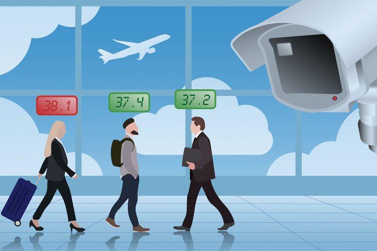 cámara de medición de temperatura corporal en un aeropuerto
