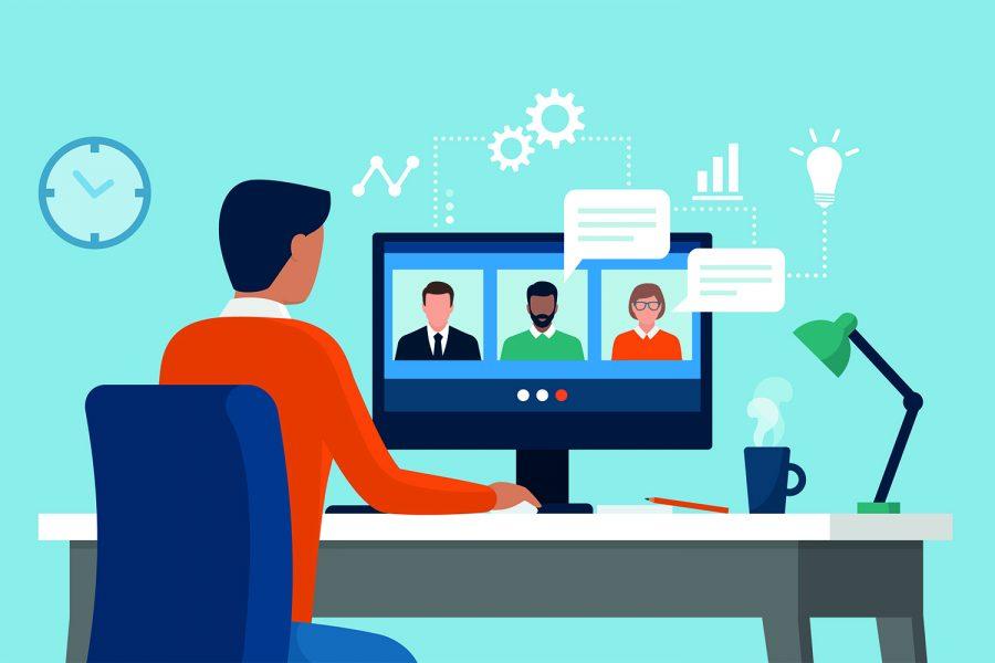 un hombre asiste a las conferencias de un encuentro virtual