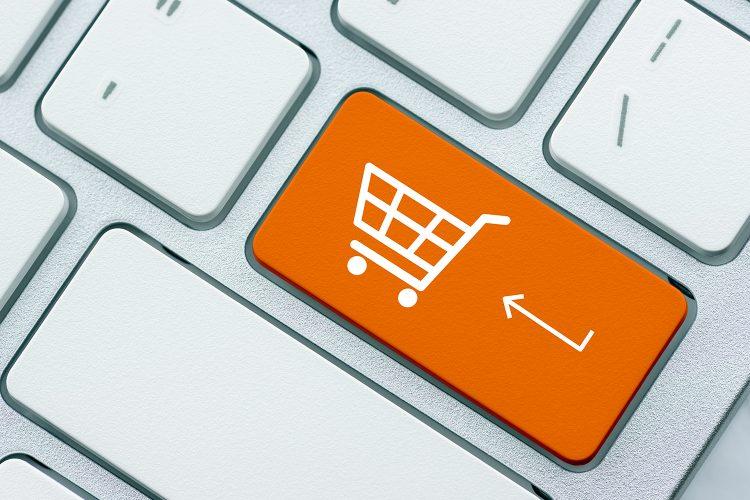 símbolo de la cesta de las compras en línea