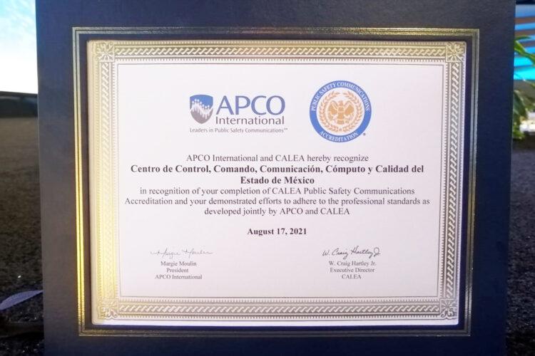Reconocimiento de APCO International al C5 Edomex por obtener la acreditación de CALEA