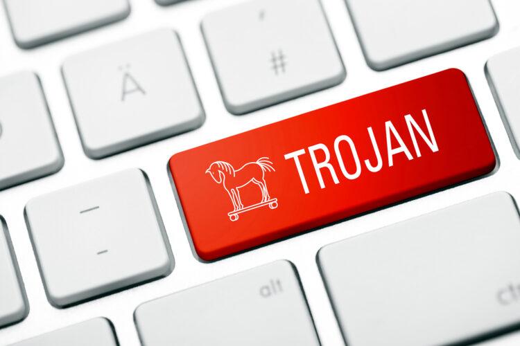 un virus troyano en el teclado de un ordenador