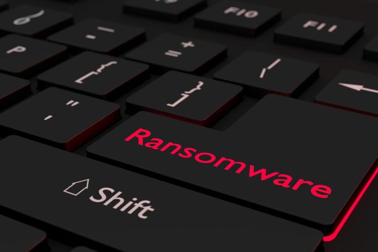 ransomware en un teclado de ordenador